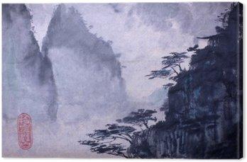 Leinwandbild Berge und Kiefer
