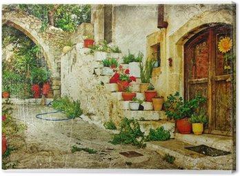Leinwandbild Bildliche griechische Dörfer (Lutra) - Kunstwerk im Retro-Stil
