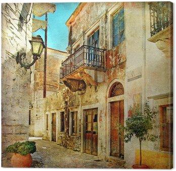 Leinwandbild Bildlichen alten Straßen von Griechenland