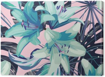 Leinwandbild Blaue Lilie und Blätter nahtlose Hintergrund