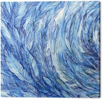 Leinwandbild blue feathers in a circle, watercolor abstract background