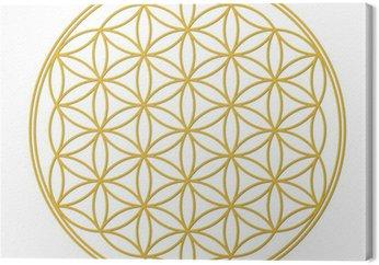 Leinwandbild Blume des Lebens Gold mit Schatten