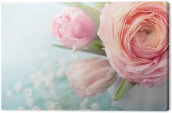 Leinwandbild Blumen rosa