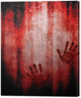 Leinwandbild Blutigen Handabdruck an der Wand