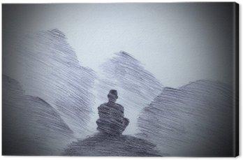 Leinwandbild Buddhistischer Mönch in den Bergen