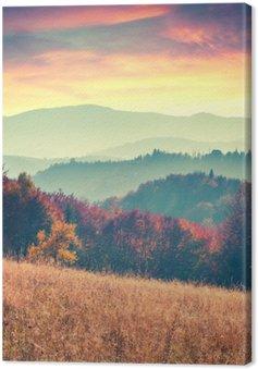 Leinwandbild Bunter Herbst Sonnenaufgang in den Karpaten