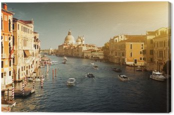 Leinwandbild Canal Grande und Santa Maria della Salute Basilika, Venedig, Italien