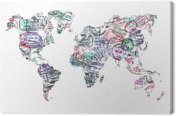 Leinwandbild Carte du monde de Tampons Passeport, isolé