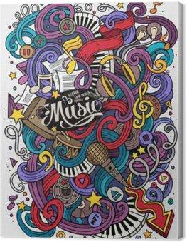 Leinwandbild Cartoon handgezeichneten Kritzeleien musikalische Illustration