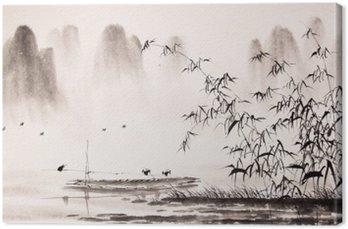 Leinwandbild Chinesische Landschaft Tuschemalerei
