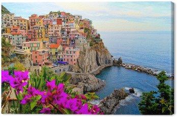 Leinwandbild Cinque Terre Küste von Italien mit Blumen