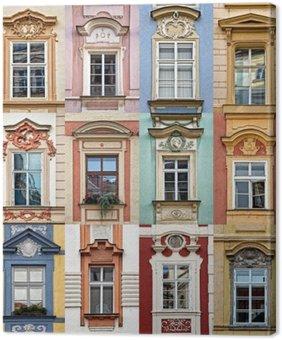 Leinwandbild Collage von bunten Fenstern von Prag, Tschechische Republik