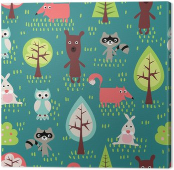 Leinwandbild Cute animals seamless pattern.