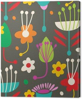 Leinwandbild Doodle nahtlose Blumenmuster