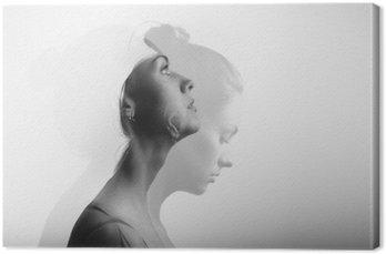 Leinwandbild Doppelbelichtung mit jungen und schönen Mädchen, Schwarz-Weiß