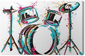 Leinwandbild Drum-Kit mit Spritzern in Aquarell-Stil. Bunte Hand gezeichnet Vektor-Illustration