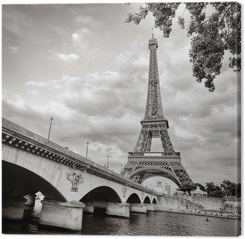Leinwandbild Eiffelturm Ansicht von Fluss Seine quadratischen Format