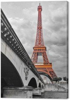 Leinwandbild Eiffelturm in Schwarzweiß und rot