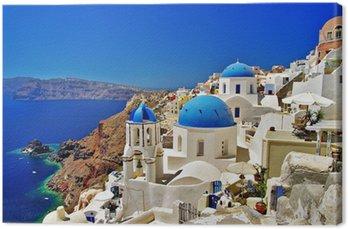 Leinwandbild Erstaunliche weiß-blau Santorini