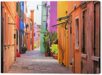 Leinwandbild Farbenfrohe Straße in Italien