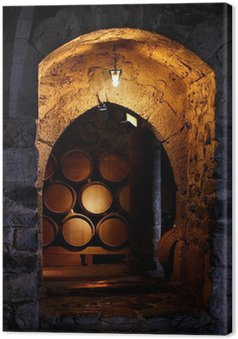 Leinwandbild Fass Wein in winerry.