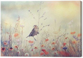 Leinwandbild Feld mit wilden Blumen und ein Vogel
