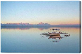 Leinwandbild Fischerboot auf Philippine Ozean an einem schönen Sonnenuntergang Tag.