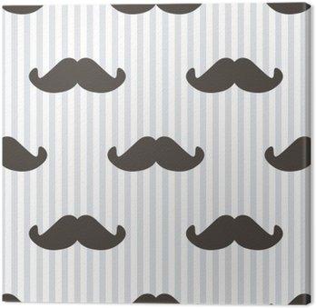 Leinwandbild Flache Design, Vektor-Hipster Schnurrbart und Streifen nahtlose Muster Hintergrund.
