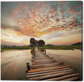 Leinwandbild Fluss bei Sonnenuntergang