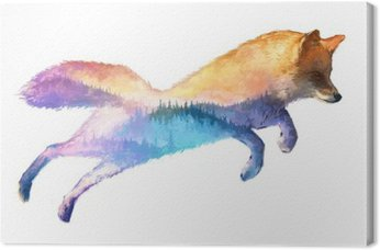 Leinwandbild Fox Doppelbelichtung Illustration