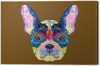 Leinwandbild Französisch Bulldogge Kopf in geometrische Muster