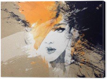 Leinwandbild Frau Porträt. abstraktes Aquarell. Mode Hintergrund