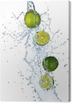 Leinwandbild Frische Limetten mit Wasser spritzen, isoliert auf weißem Hintergrund