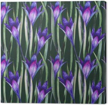 Leinwandbild Frische wilde Blumen, Gras. Muster, Aquarell.