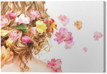 Leinwandbild Frisur mit bunten Blumen. Haarpflege-Konzept. Rückansicht