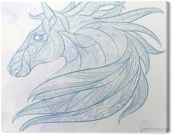 Leinwandbild Gemusterte Kopf des Pferdes auf dem Grunge-Hintergrund. African / Indian / totem / Tattoo-Design. Es kann für die Gestaltung eines T-Shirt, Tasche, Postkarte, ein Plakat und so weiter verwendet werden.