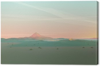 Leinwandbild Geometrische Berglandschaft mit Gradient Himmel