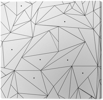 Leinwandbild Geometrische einfache Schwarz-Weiß minimalistische Muster, Dreiecke oder Buntglasfenster. Kann als Hintergrund, Hintergrund oder Textur verwendet werden.
