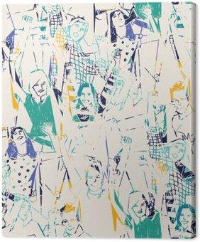 Leinwandbild Glückliche junge Leute abstrakte nahtlose Muster.