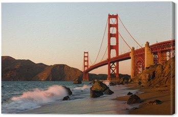 Leinwandbild Golden Gate Bridge in San Francisco bei Sonnenuntergang