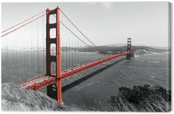 Leinwandbild Golden Gate Bridge Red Pop auf B
