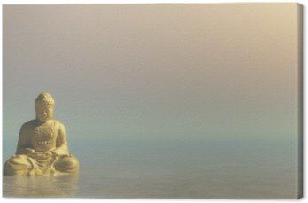 Leinwandbild Goldene Buddha - 3D übertragen
