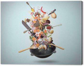 Leinwandbild Große Eisenpfanne mit fallenden Gemüse und Pilzen