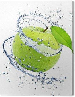 Leinwandbild Grüner Apfel mit Wasser spritzen, isoliert auf weißem Hintergrund