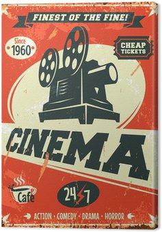 Leinwandbild Grunge retro Kinoplakat. Vektor-Illustration.