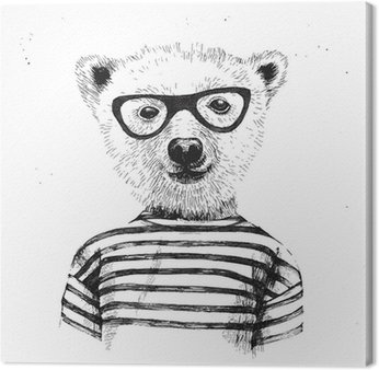 Leinwandbild Hand drawn Illustration of dressed up hipster bear
