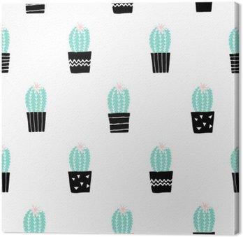 Leinwandbild Hand gezeichnet Kaktus Muster