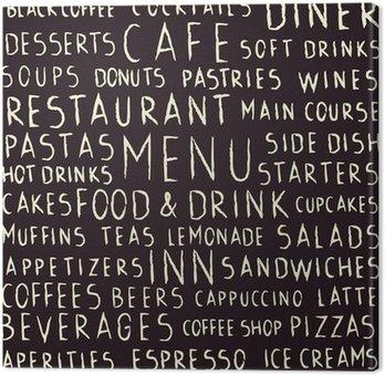 Leinwandbild Handschriftliche Restaurant bezogenen nahtlose Muster auf Tafel