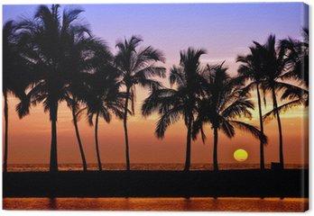 Leinwandbild Hawaiian Sonnenuntergang auf Big Island, Anaehoomalu Bay