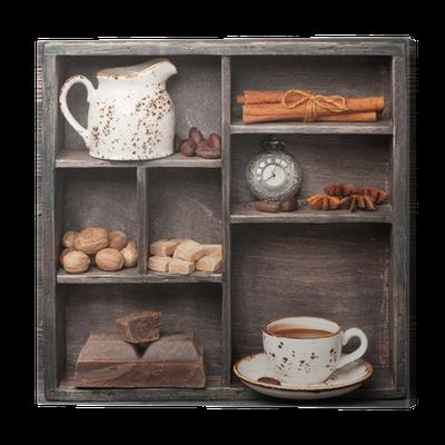 leinwandbild hei e schokolade und gew rzen vintage satz im holzkasten ollage pixers wir. Black Bedroom Furniture Sets. Home Design Ideas